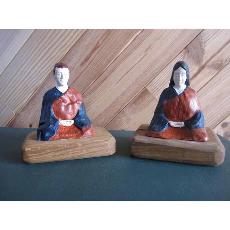 Statue zazen veksido peinte couple Femme-Homme